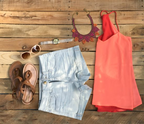peach cami with statement necklace