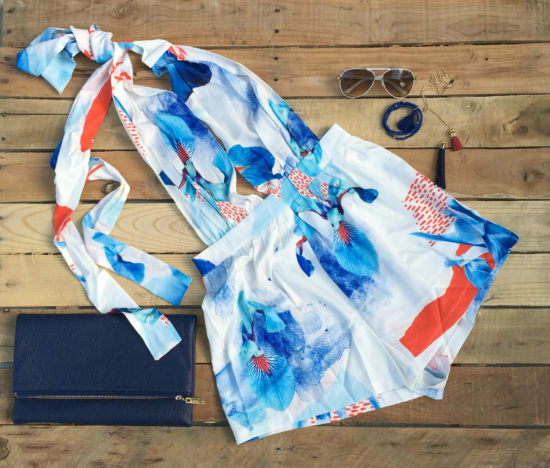 abstract romper in shades of blue