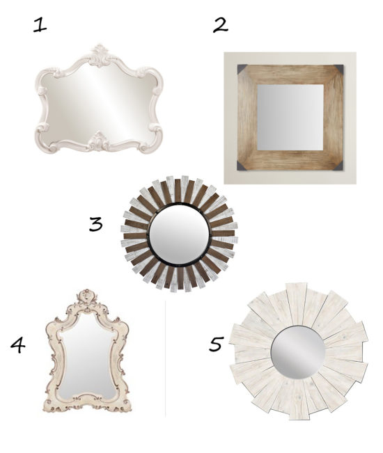 round, square, irregular mirrors