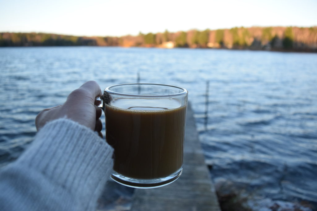 morning coffee at the lake